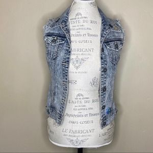 Highway Jeans Small Acid Washed Cutoff Jean Vest